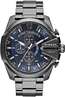 Diesel Men's Mega Chief Quartz Stainless Steel Chronograph Watch, Color: Grey (Model: DZ4329)
