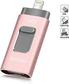 USBメモリ64GB BHOMEA フラッシュドライブ OTGメモリー スライド式 3in1 iPhone lighting/USB3.0/iOS/Android/ PC パソコン IOS12対応 iPhone iPad iPod touchの 容量不足解消 パスワード保護 高速データ転送 一本三役 日本語取扱説明書付き (64GB ローズゴールド) …
