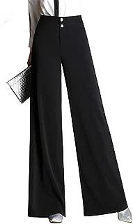 SDHEIJKY Women Wide Leg Loose Solid Plus Size High Waist Full Length OL Trousers