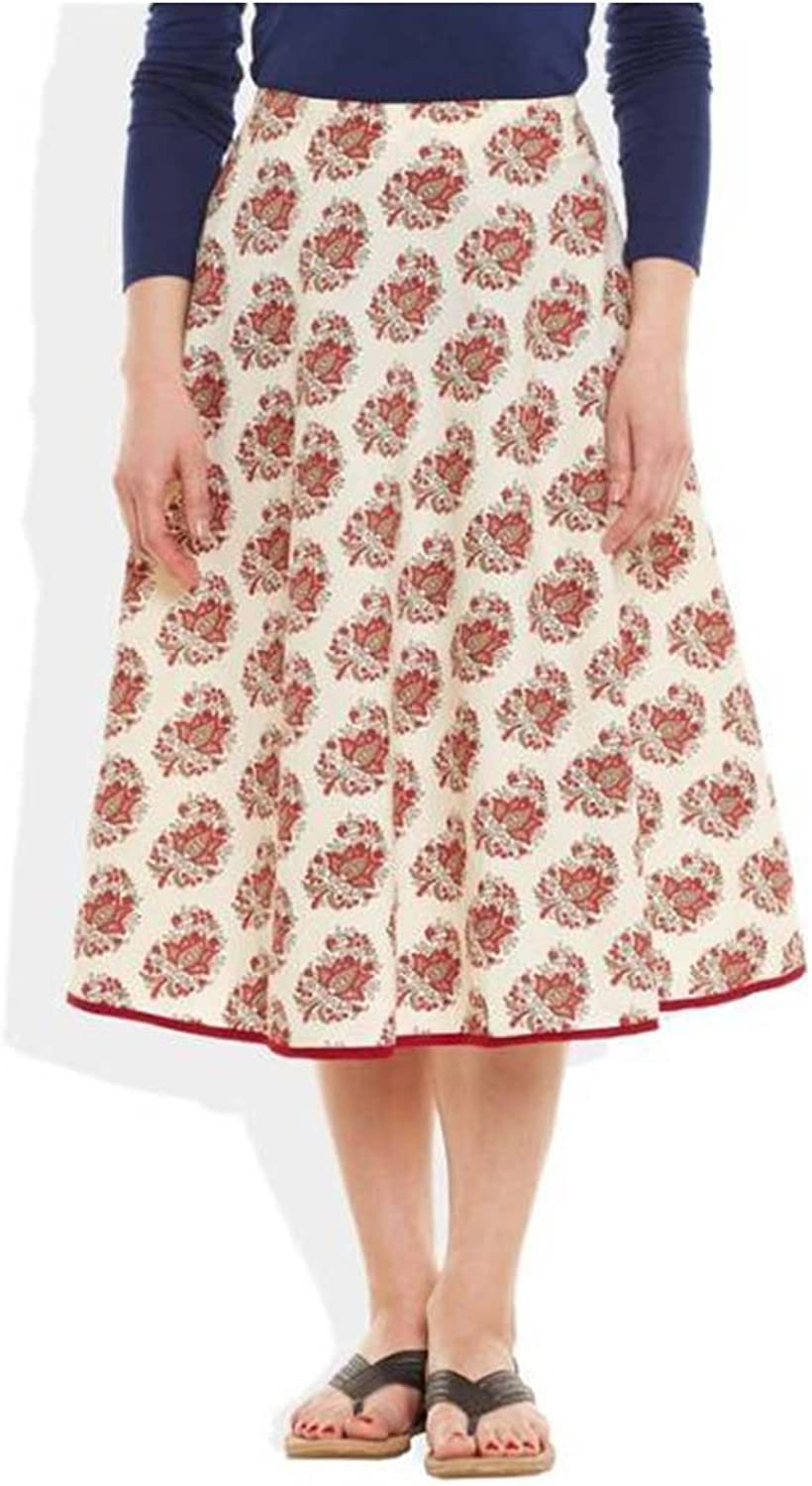 Very Me Printed Women's Pleated Red Skirt