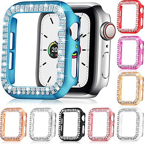 9 peças de proteção de tela para relógio compatível com Apple Watch série 6/5/4/SE/3/2/1, diamantes de cristal cintilante, strass brilhante, capa protetora para meninas e mulheres, 9 cores (38 mm)