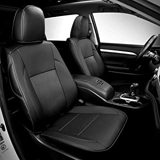 Bwen Car Seat Covers zdh225 Black with Black Leather Custom Full Set 7 Seat's Covers Fit for 2015-2019 Toyota Highlander