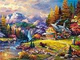 Pintura de diamante casa del árbol cuadrado completo río bordado de diamantes mosaico paisaje regalo hecho a mano pintura de diamante A4 40x50cm