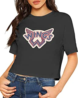 USWHY0z Paul McCartney 'Wings Logo' Women's Sexy Exposed Navel Female Cotton T-Shirt