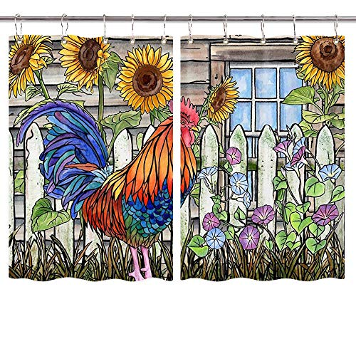 NYMB Inbetweening Rooster Kitchen Curtains, American Western Farm Animals Village Chicken and Sunflowers Window Drapes 2 Panel Set for Kitchen Decorations, Window Treatment Sets with Hooks, 55X39in