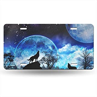 Lplpol Wolf Night Moon Front Auto Vanity License Plate Aluminum Novelty License Cover