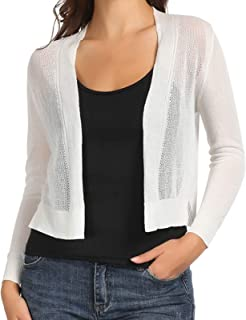 GRACE KARIN Womens Sheer Crop Bolero Shrug Open Front Knit Cardigan Sweater
