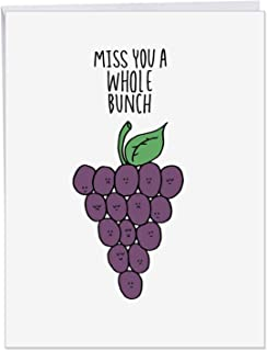 Fun Puns Grapes Miss You - Silly Illustrated Cartoon Grapes - I Miss You XL Appreciation Card w/Envelope 8.5 x 11 Inch J2975BMYG