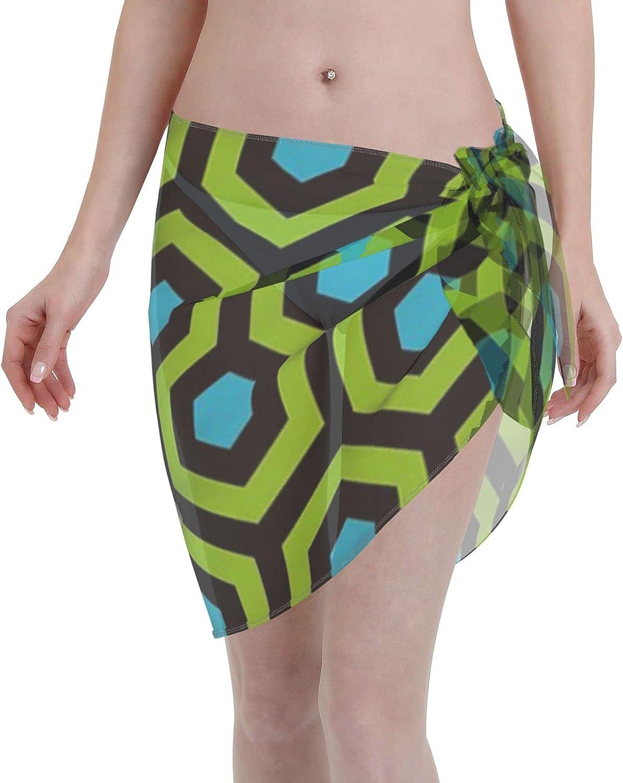 2053 pants Geometric Pattern Looped Hexagons GreenBlue Women Chiffon Beach Cover ups Beach Swimsuit Wrap Skirt wrap Bathing Suits for Women