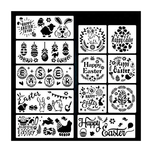 YEES Pack de 16 plantillas de pintura de Pascua, reutilizables, juego de plantillas para manualidades, para pintar en madera, rocas y paredes
