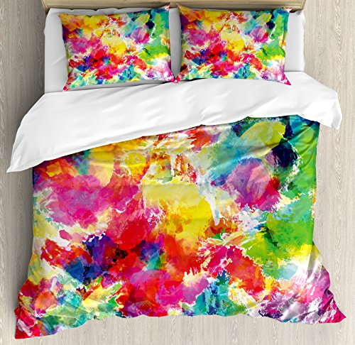 Ambesonne Pastel Duvet Cover Set, Oil Painting Style Abstract Watercolors Brushstrokes Mottled Messy Vibrant Print, Decorative 3 Piece Bedding Set with 2 Pillow Shams, King Size, Yellow Magenta
