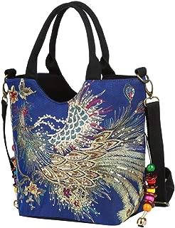 Women Canvas Shoulder Bag Sequins Peacock Embroidery Handbag Stylish Tote Bags Casual Cross-body Bag, Decorative Pendants
