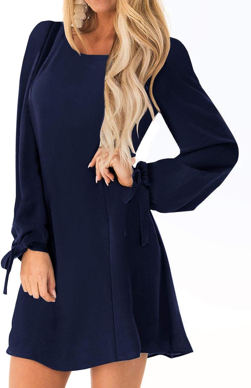 YOINS Damen Kleider Tshirt Kleid Sommerkleid für Damen Rundhals Brautkleid Langarm Minikleid Kleid Langes Shirt Lose Tunika mit Bowknot Ärmeln Langarm-dunkelblau