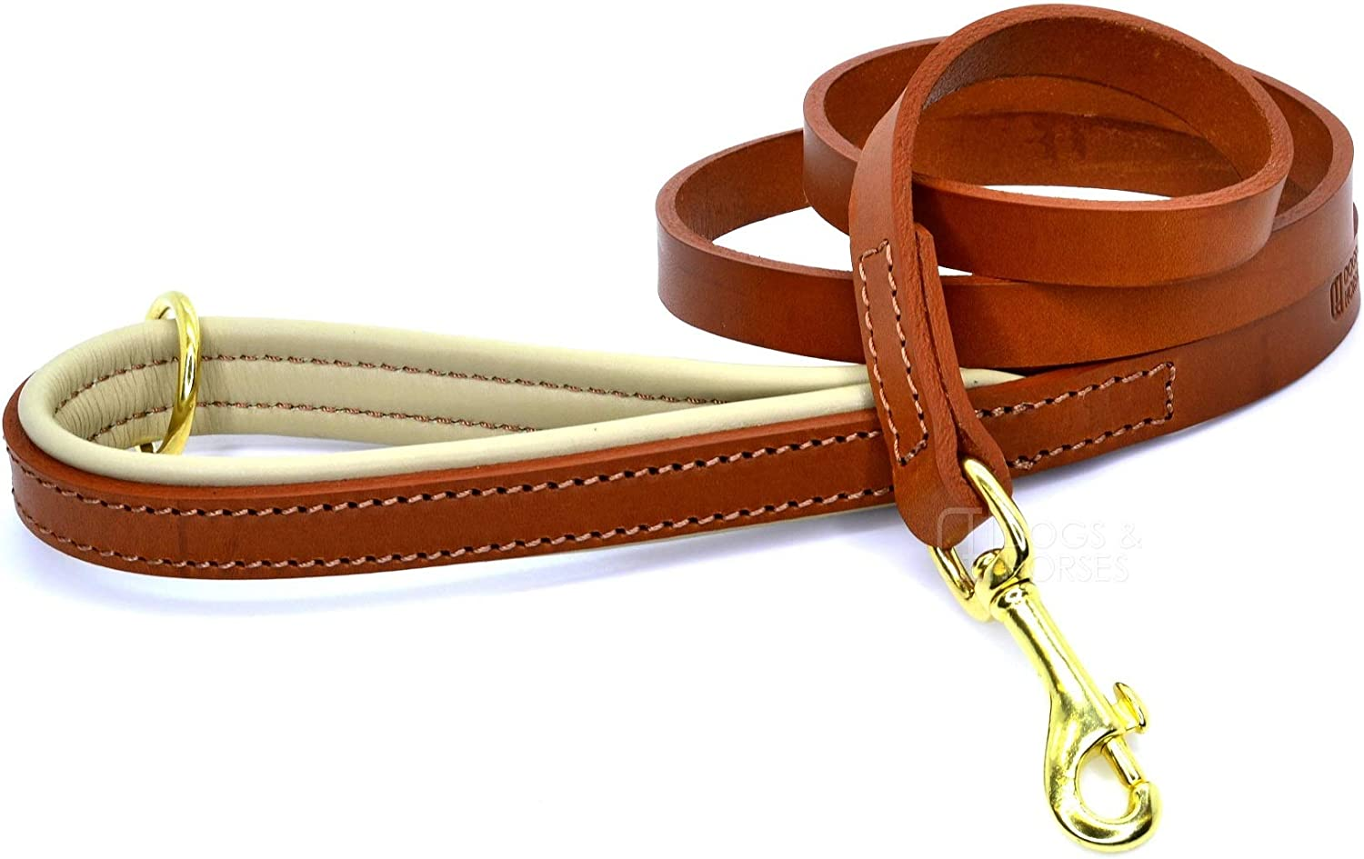 Dogs & Horses Padded Leather Dog Lead (Tan)