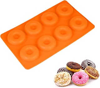 Cellution 8 Cavity Donut Mold/Ring Mold Food Grade Silicone 3D Fondant Gum Paste Cake/Wax/Clay/Soap DIY Mould