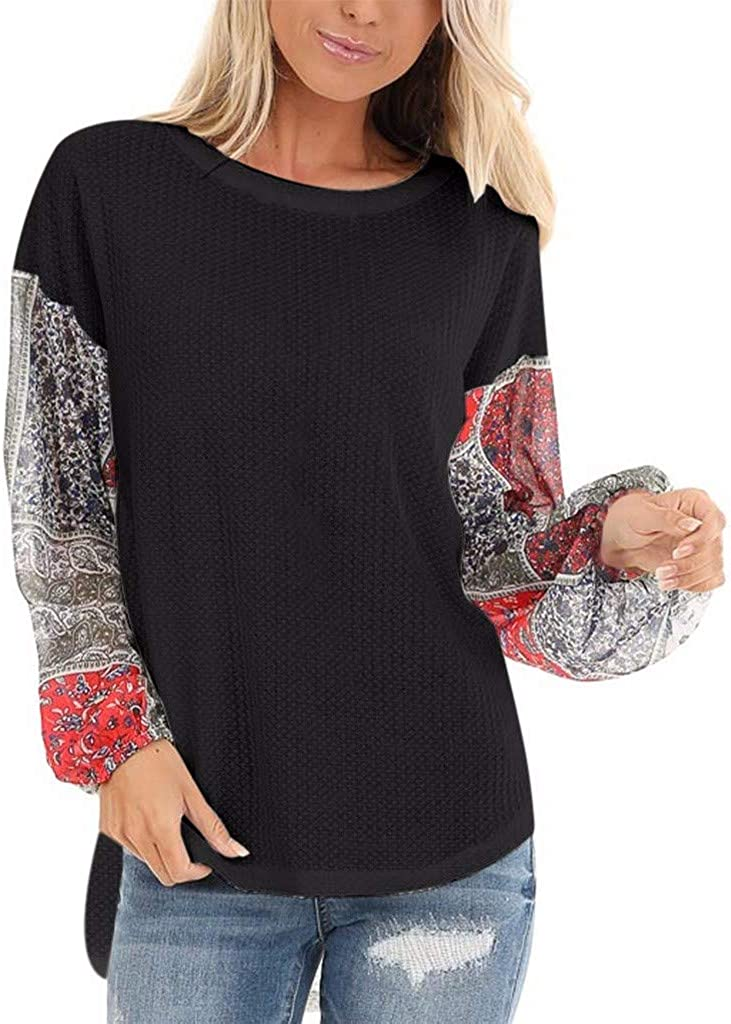 NREALY Pullover Womens Autumn Fashion T-Shirt Knit Chiffon Panel Top Round Neck Top