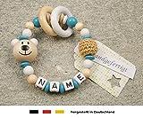 Baby Greifling Beißring geschlossen mit Namen - individuelles Holz Lernspielzeug als Geschenk zur Geburt Taufe - Mädchen Jungen Motiv Bär in weiss türkis
