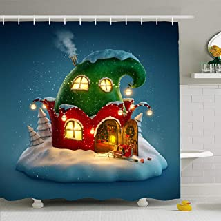 Ahawoso Shower Curtain for Bathroom 60x72 Green Claus Amazing Fairy House Decorated Christmas Shape Holidays Red Gnomes Magic Tale Xmas Ball Waterproof Polyester Fabric Bath Decor Set with Hooks