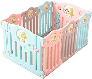 Hfyg Playpens Baby Playpen Plastic Portable Play Area With Childrens  Play Lock  Toddler Play Fence pens  Color 6 2 Panels