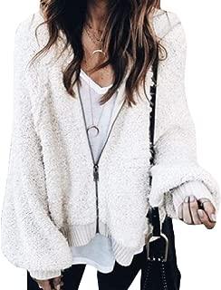 Energy Women's Lantern Sleeve Velvet Zip-Up Solid Baggy Weekend Coat Jacket