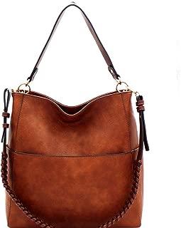 Extra Whipstitched Braid Strap 2 Way Multi Pocket Compartment Vegan Leather Boho Hobo Bag X-LARGE