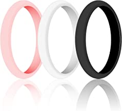 WIGERLON Womens Silicone Wedding Ring&Rubber Wedding Bands for Workout and Sports Width 3mm