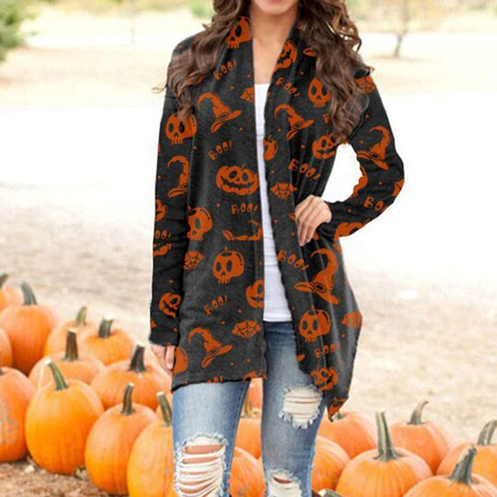 POTO Women's Long Sleeve Open Front Cardigan for Halloween Party Pumpkin Graphic Sweater Tops Lightweight Coat Outwear