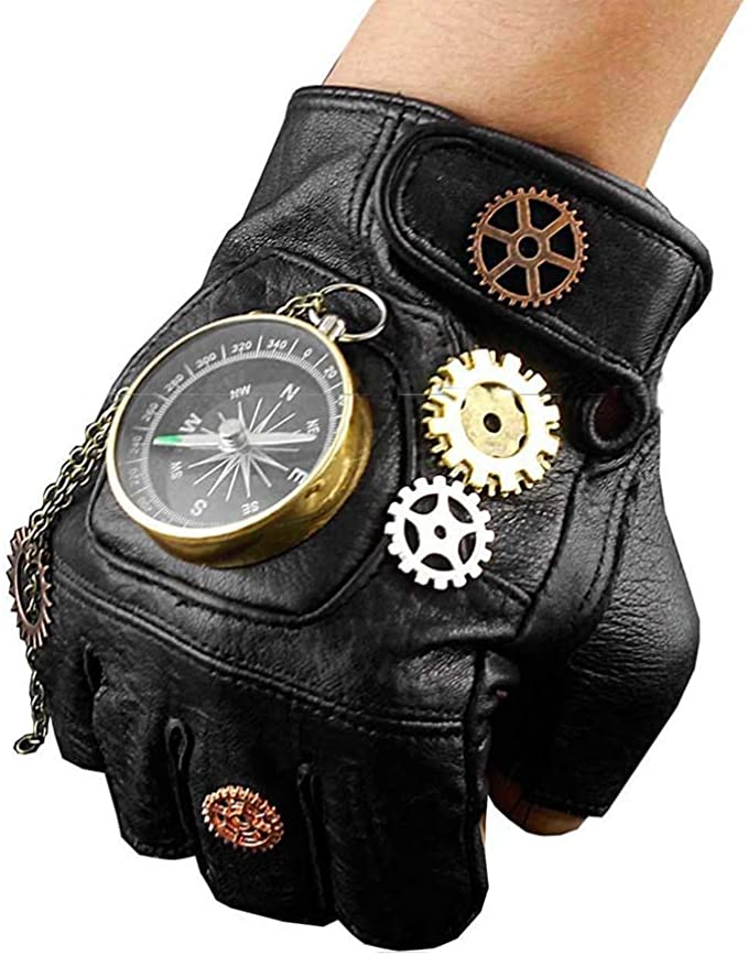 Steampunk Accessories | Goggles, Gears, Glasses, Guns, Mask MAYSONG Punk Gothic Driving Fingerless Gloves  AT vintagedancer.com