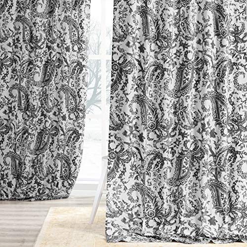 HPD Half Price Drapes PRCT-D09D-96 Printed Cotton Curtain (1 Panel), 50 X 96, Edina Washed Grey