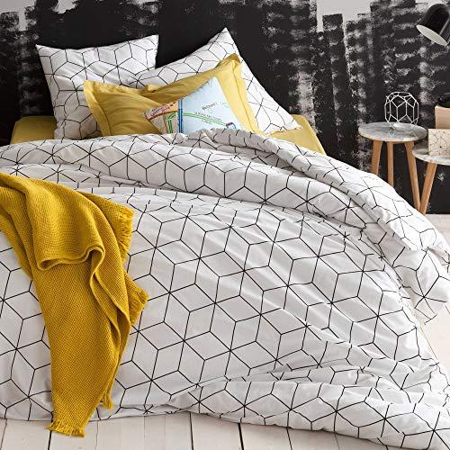 3 SUISSES Housse de Couette + f. Coussin imprimé avec Motifs géométriques en 100% ALG - 452283 135 Blanc