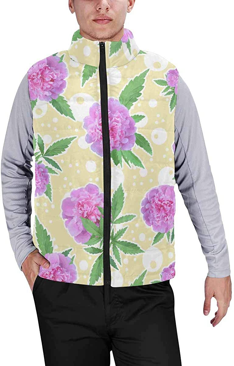 InterestPrint Men's Casual Sleeveless Coats with Personality Design Sleeping Little Cat with Butterfly