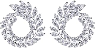 14K Gold Over Sterling Silver Round Olive Branch Leaves Fan Cubic Zirconia Earrings