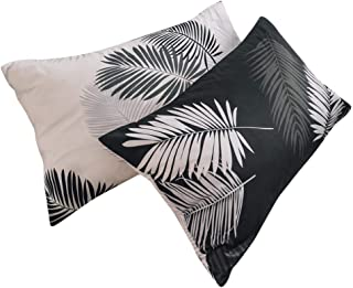 BuLuTu Tropical Bed Pillowcases Set of 2 Queen Black White Cotton Botanical Leaf Boho Standard Pillow Covers Decorative for Kids Adults Envelope Closure End-Premium,Hypoallergenic(2 Pack,20