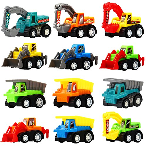 Pull Back Car, 12 Pcs Mini Truck Toy Kit Set, Funcorn Toys Play Construction Engineering Vehicle Educational Preschool for Children Boys Party Favors, Kids Birthday Game Gift Playset Classroom Reward