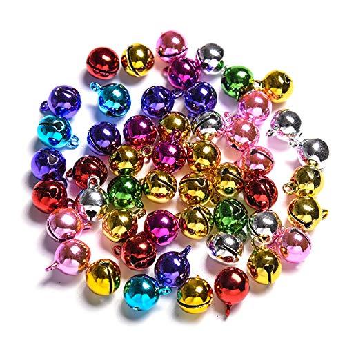 100Pcs Christmas Bells Jingle Bells for Crafts,iKammo 12mm Small Bells DIY Bells Christmas Crafts for DIY Bracelet Anklets Necklace Knitting/Jewelry Making(Colorful,100pcs)