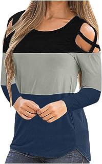 FELZ Primavera Verano Ropa De Mujer Blusas De Mujer Elegantes Bloque De Color Hombro FríO Jersey De Mujer Blusas Camisa De...
