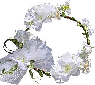 Bridal Hair Wreath Floral Headband Simulation Flowers Garland Hair Accessory for Bridesmaid Flower Girl