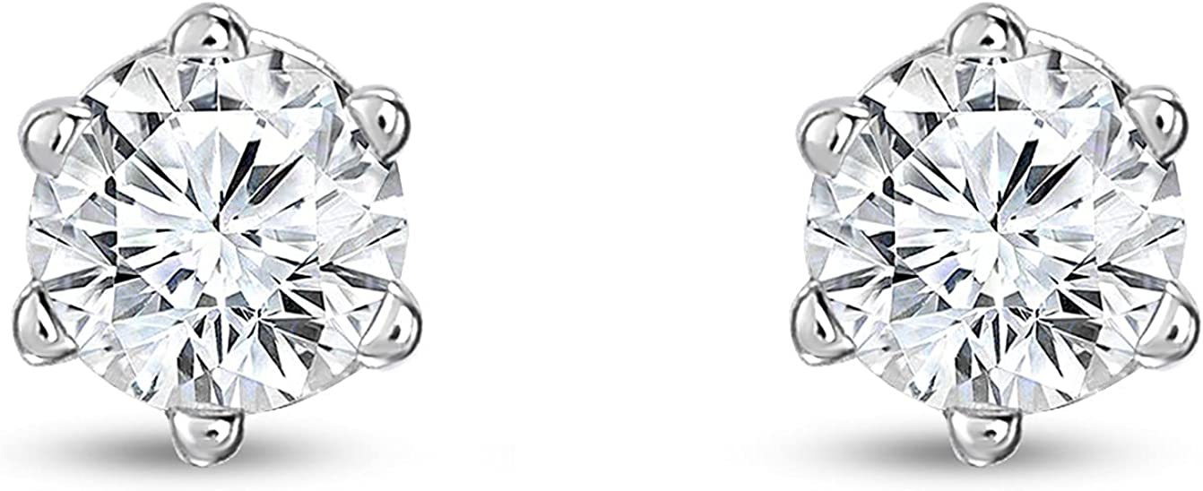 UNITED WORLD DIAMONDS 0.50 Carat Lab Grown/Created Round Diamond Stud Earring for Women in 10Kt White Gold and Round Diamond (Color G-I/Clarity SI2+)