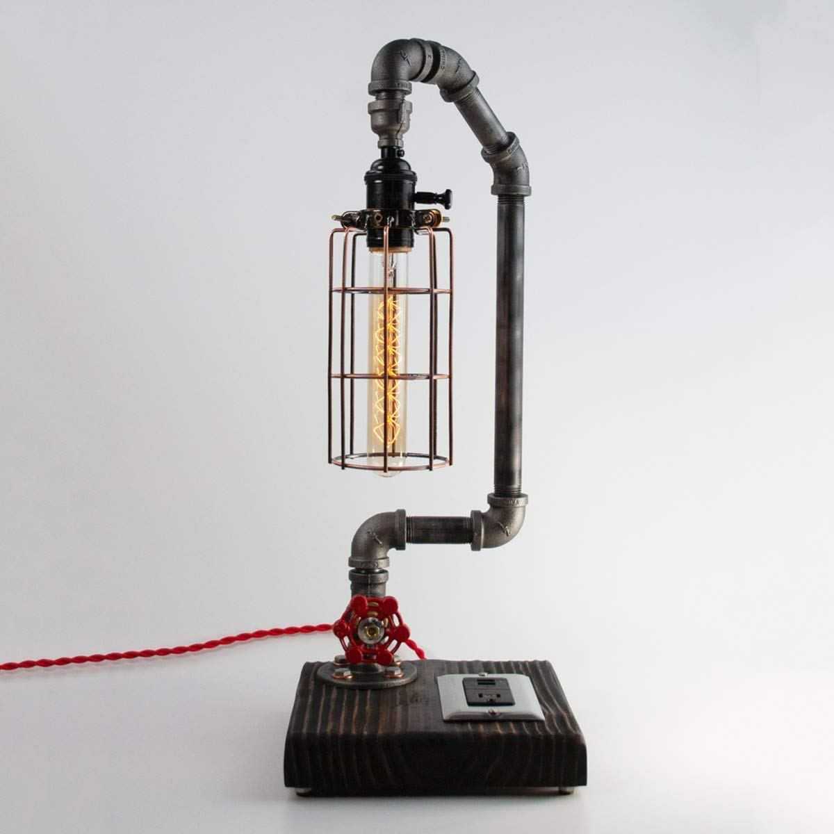 Modern Max 80% OFF Farmhouse Pipe Lamp with Valve USB Genuine Water and Switch