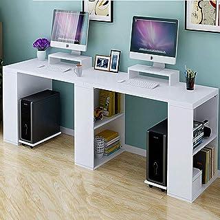Double étagères de rangement pour ordinateur au design ergonomique pour 2 personnes, station de travail avec support de mo...
