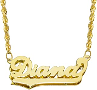 14K Yellow Gold Personalized Double Plate 3D Name Necklace - Style 4 - Customize Any Name
