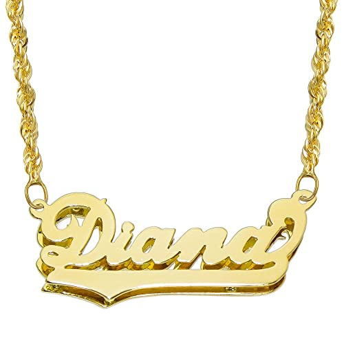 042858c7a3800 Gold Name Plate Necklace: Amazon.com