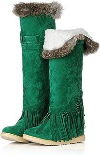 720aad1b8b8 Fashion Heel Womens Flat Heel Round Toe Fur Collar Over The Knee Boots Long  Snow Boot