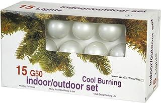 Vickerman 15 Light Pearl White set of G50 Bulbs for E12 Socket on Green Wire (Renewed)