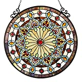 Chloe Lighting Helena Tiffany-Glass Victorian Window Panel 23.5'