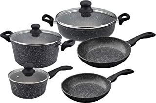 WESTINGHOUSE Marble Finish Non-Stick Cookware Set contains: 11-inch Skillet,12-inch Skillet,8-inch Saucepan with Lid,11-in...