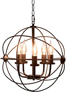 Tangkula Ceiling Chandelier, Industrial Style Vintage 5 Lights Metal Ceiling Lamp with Iron Tube & 59'' Chain, Indoor Chandelier for Dinning Room, Bedroom, Living Room (Black)