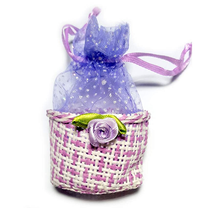 001A Mini Basket Set 6 pcs - Small Straw Woven Baskets with Organza Mesh Bag - Miniature Colored Baskets with Flower for Party Decorations Storage and Crafts - Wedding Baby Shower Favor Bag