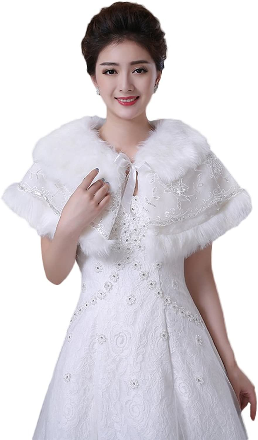 Oncefirst Women's Winter Fashion Warm bridal Wedding Faux Fur Wrap Shawl