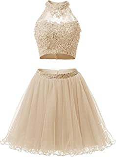 Short Applique Prom Gowns Beaded Two Pieces Homecoming Dresses EL0044